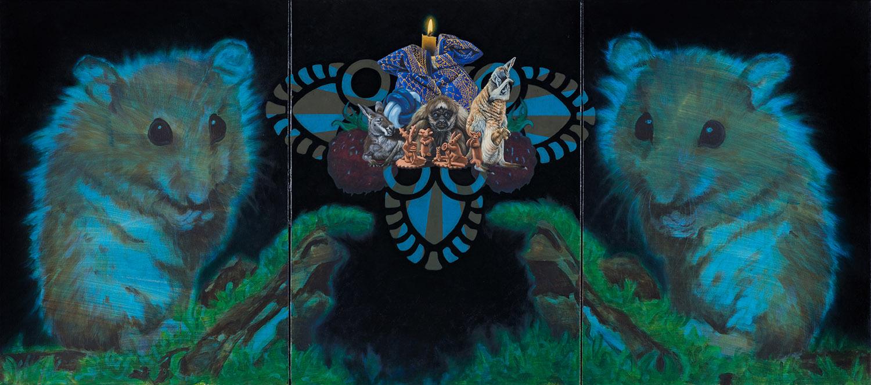 Azurro  2017, 80 × 180 cm, dreiteilig, Öl und Acryl auf Nessel