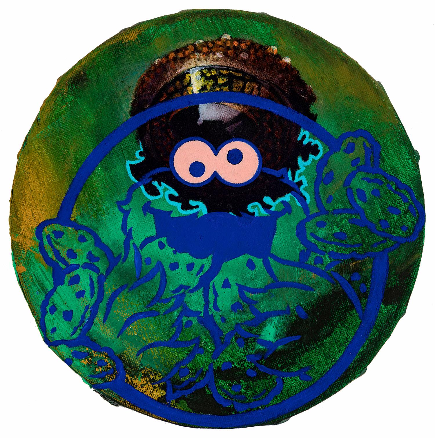 8  2017, Durchmesser 20 cm, Öl auf Nessel
