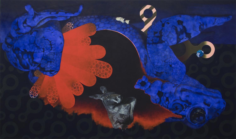 Der rote Heinrich (Zielabweichungsverfahren)  2014, 160 × 270 cm, Öl auf Nessel