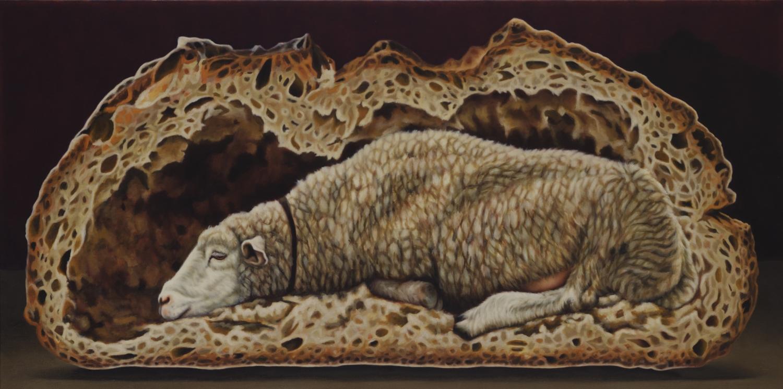 Einlieger  2011, 70 × 140 cm, Öl auf Nessel