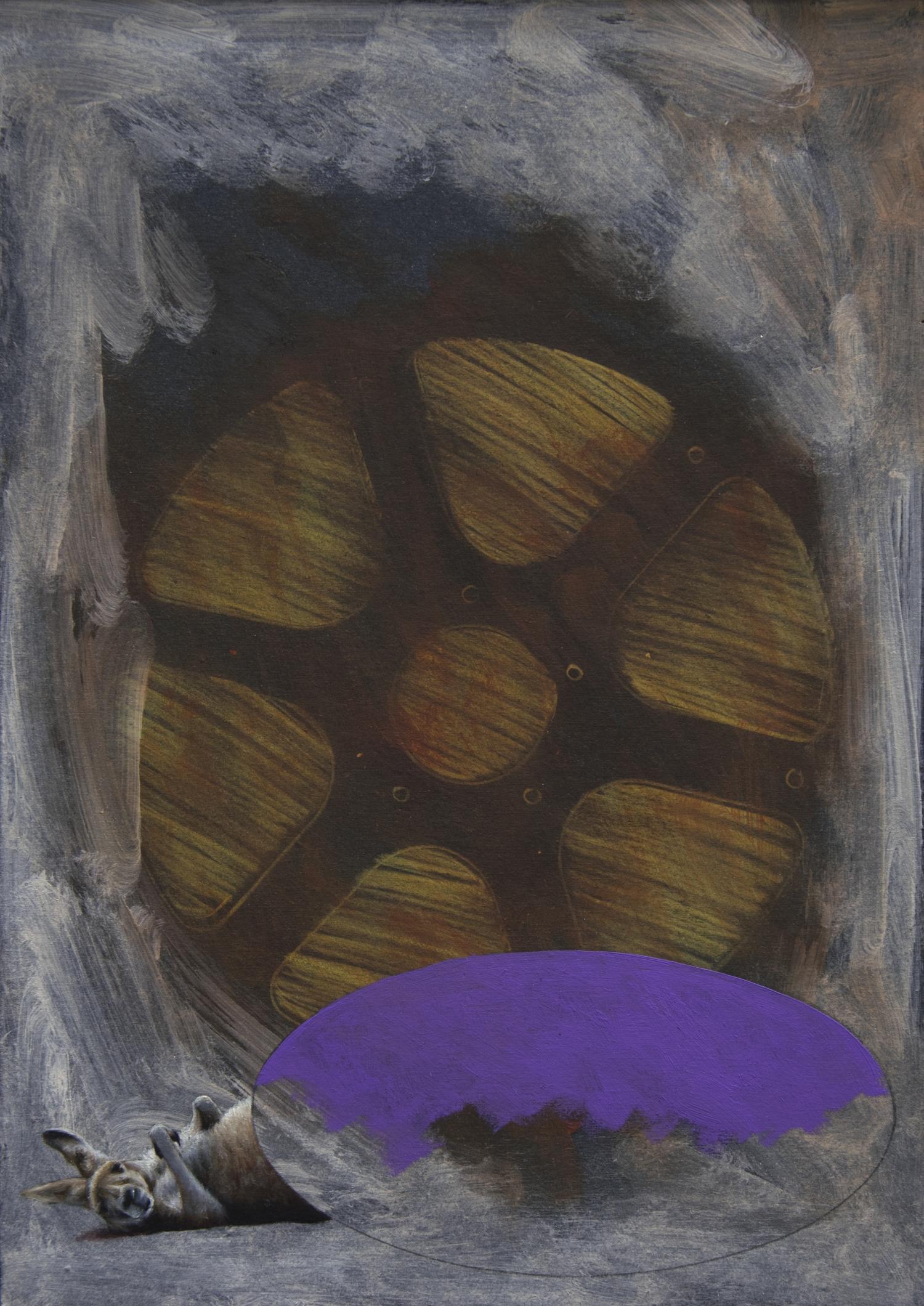 aus der Serie BBP  2014, 29,7 × 21 cm, Öl und Farbstift auf Buchbinderkarton
