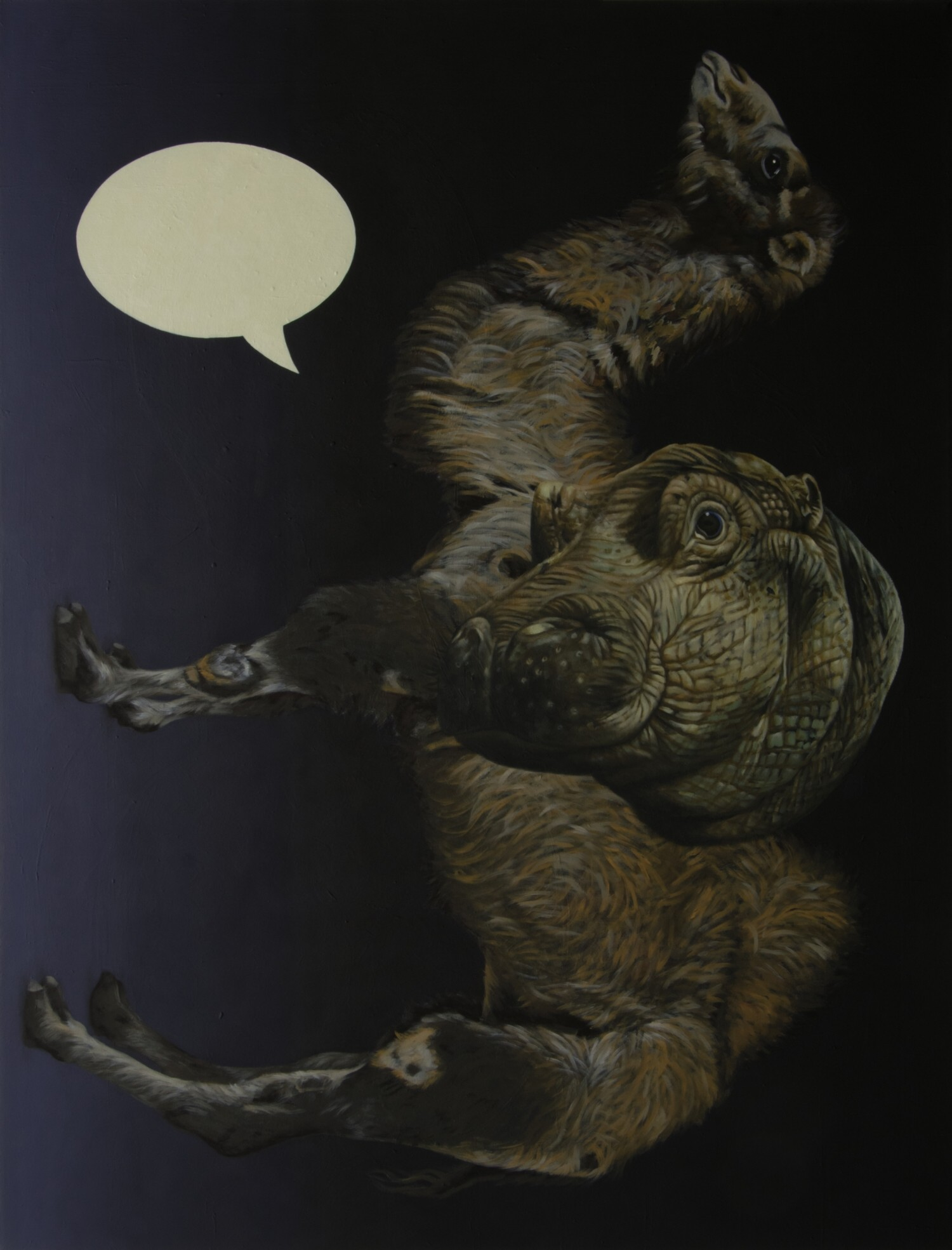 sic  2015, 130 × 100 cm, Öl auf Nessel