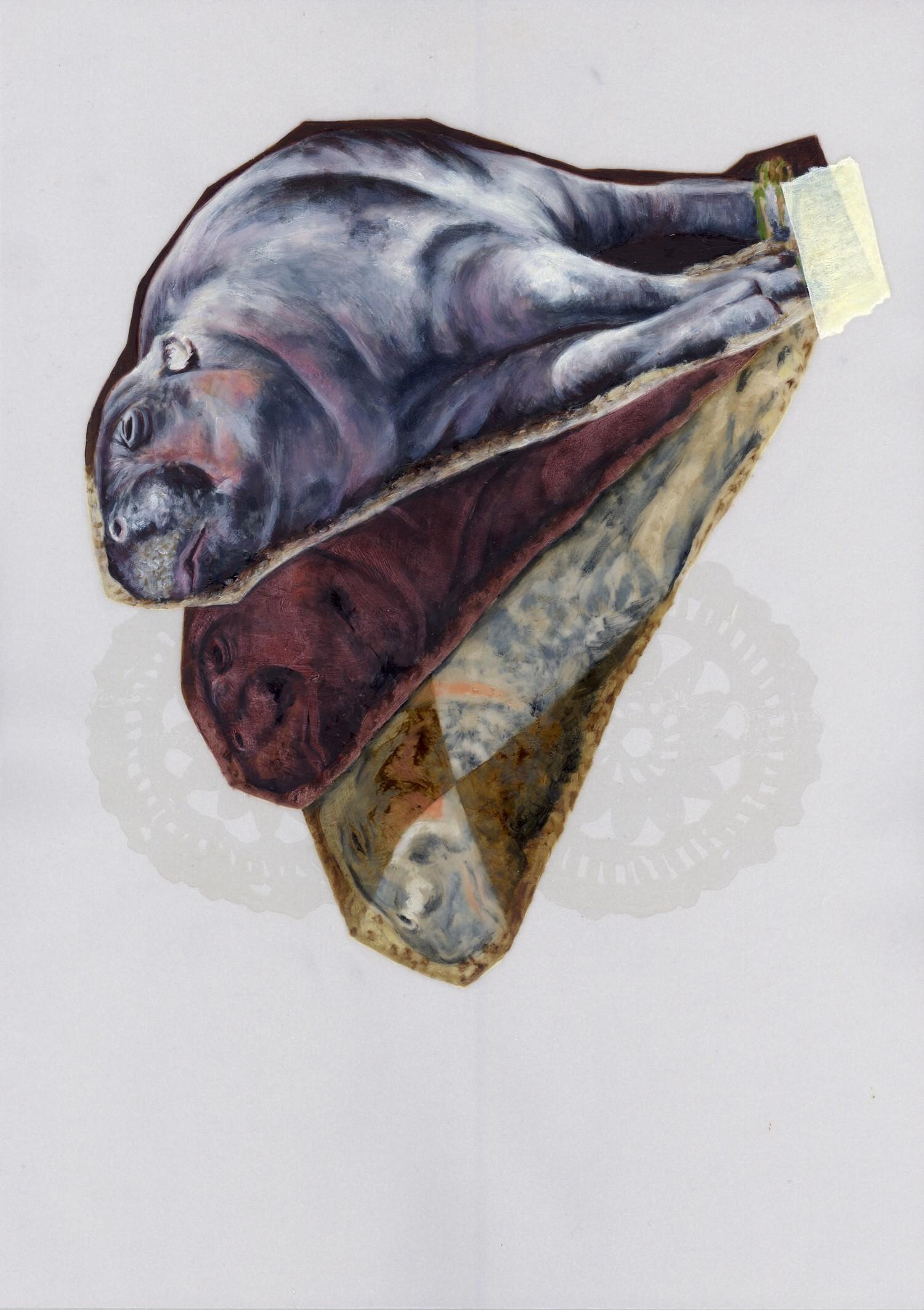 Vellum 26#2012, 29,7 x 21 cm, Öl auf Transparentpapier