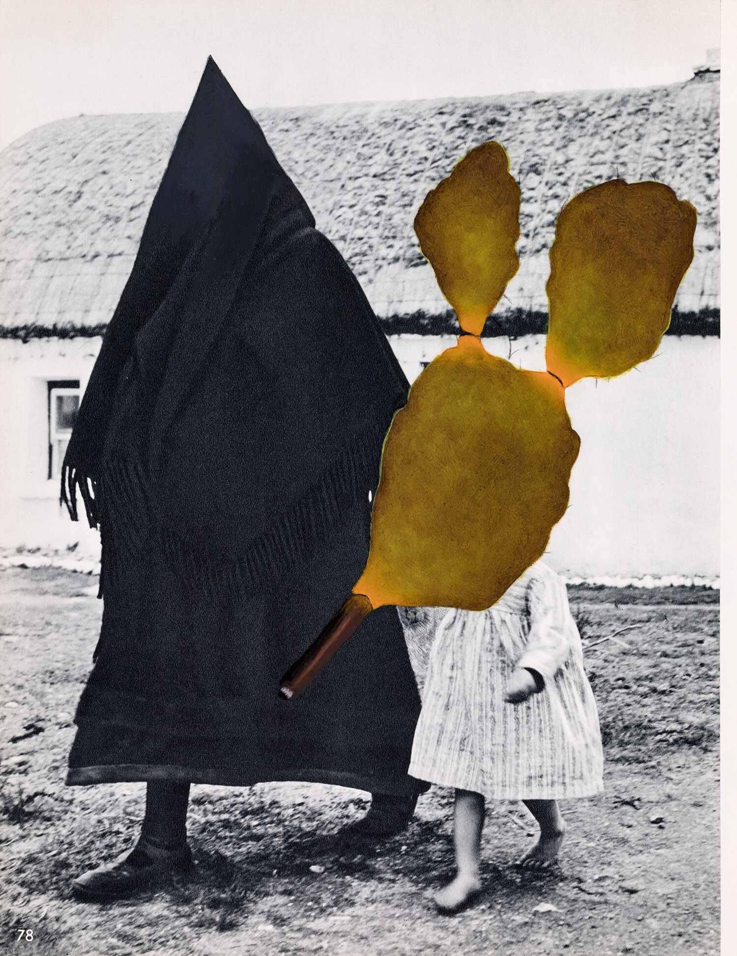 o.T. 2018, 22,7 x 21 cm, Öl auf Buchseite