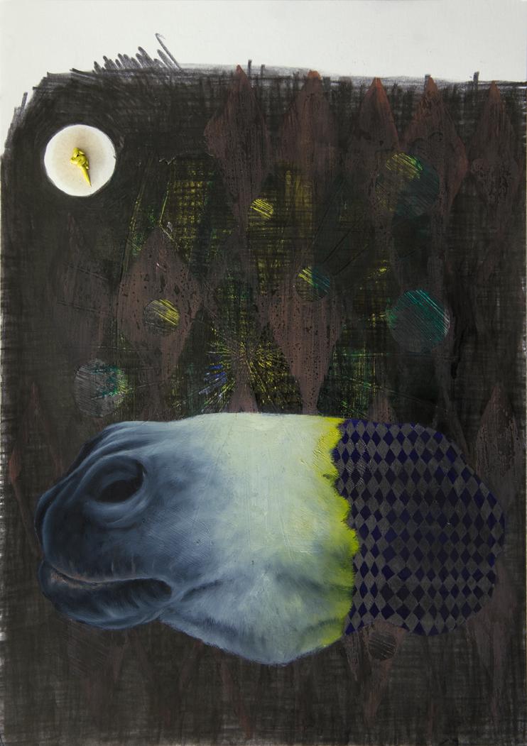 Sirblot #03 2015, 29,7 x 21 cm, Öl und Graphit auf Papier