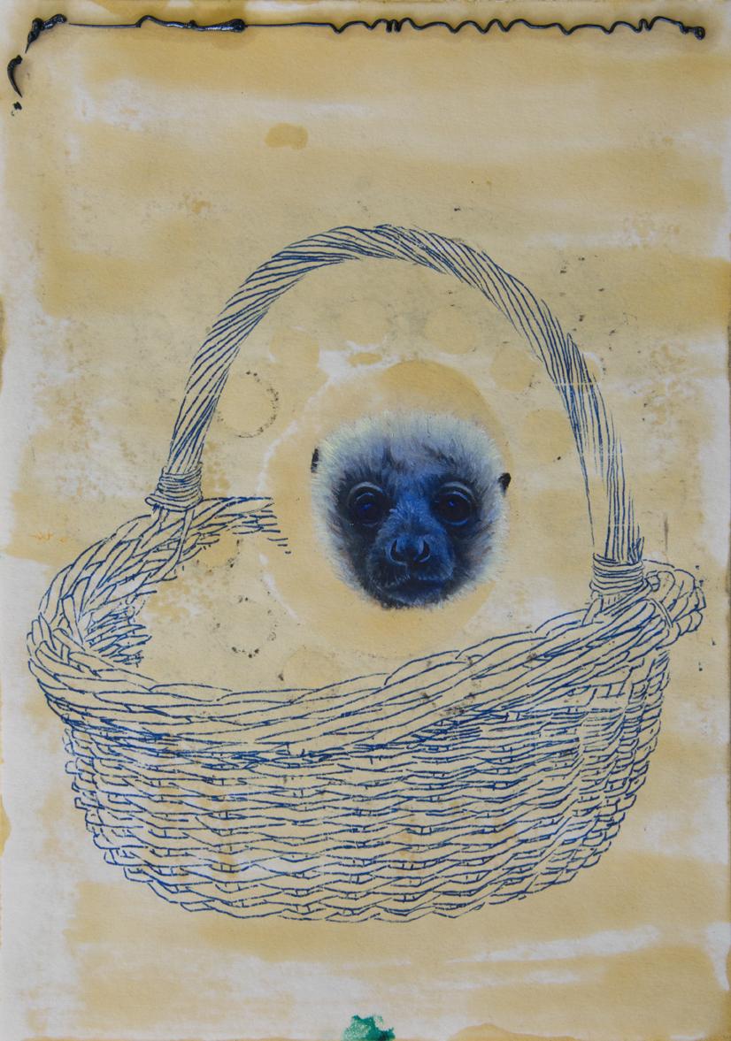 Sirblot #01 2015, 29,7 x 21 cm, Öl, Farbstift und Schellack auf Papier