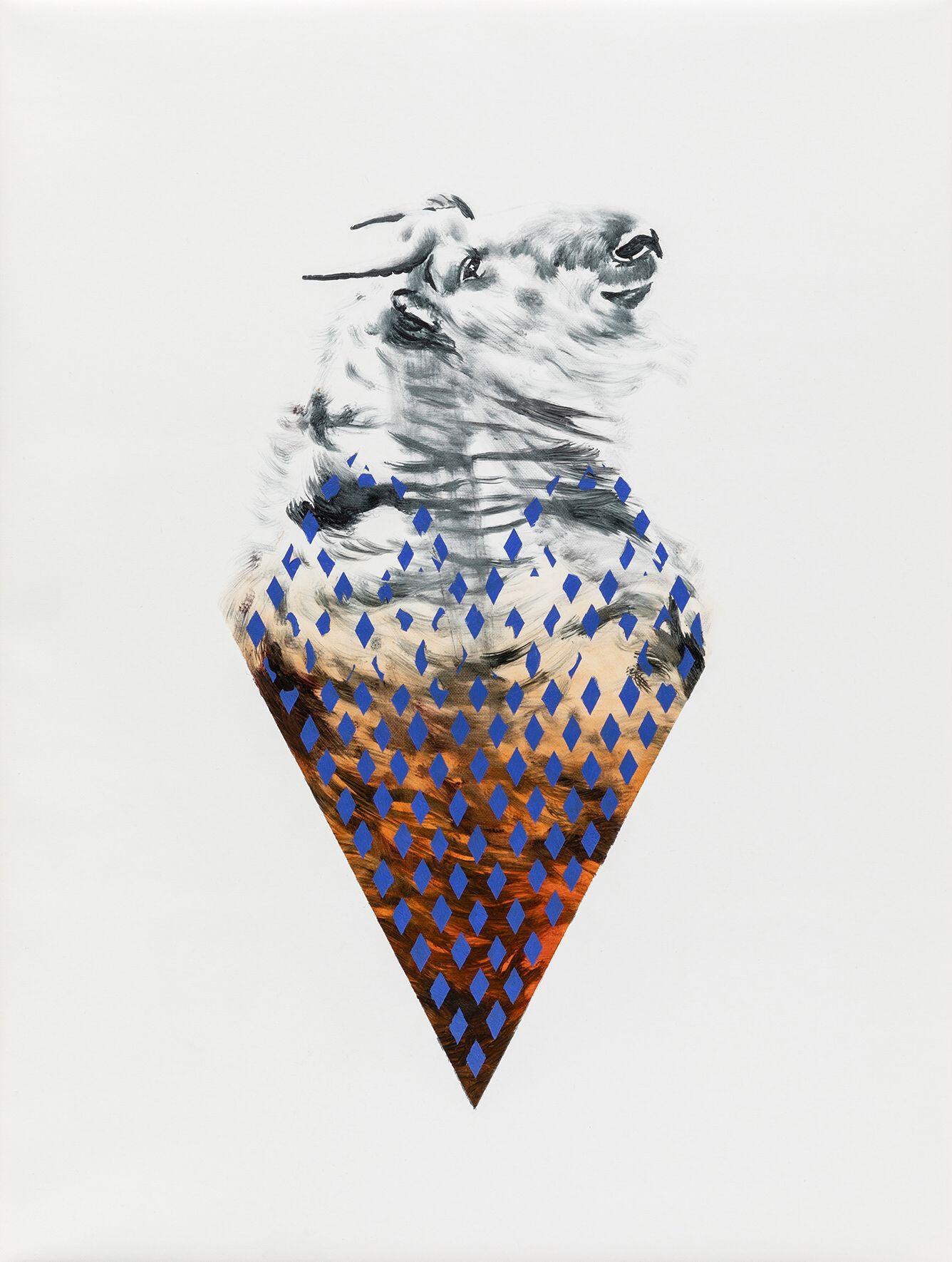 """02#2019 aus der Serie """"Polymonos"""", 40 x 30 cm, Öl auf Polyester"""