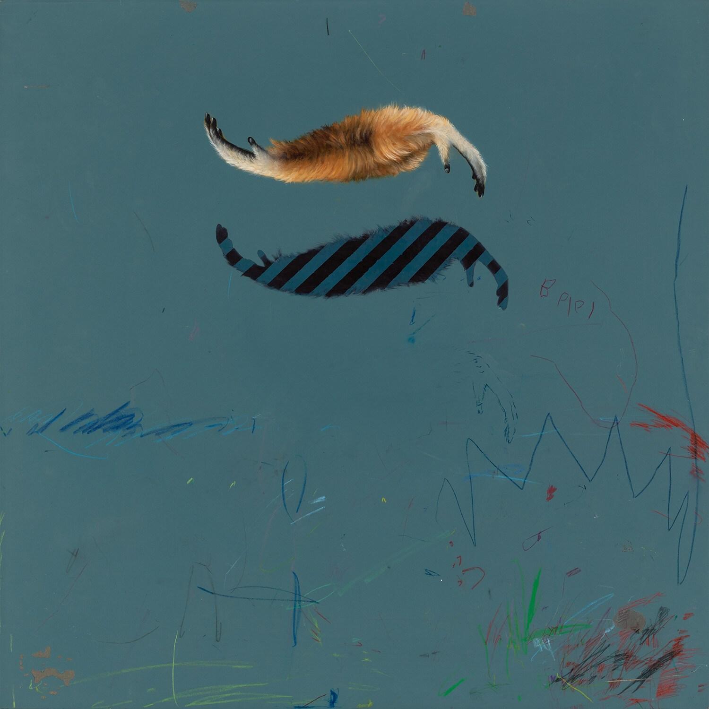 """02#2018 aus der Serie """"Tafelbilder"""", 55 x 55 cm, Öl und Farbstift auf MDF"""