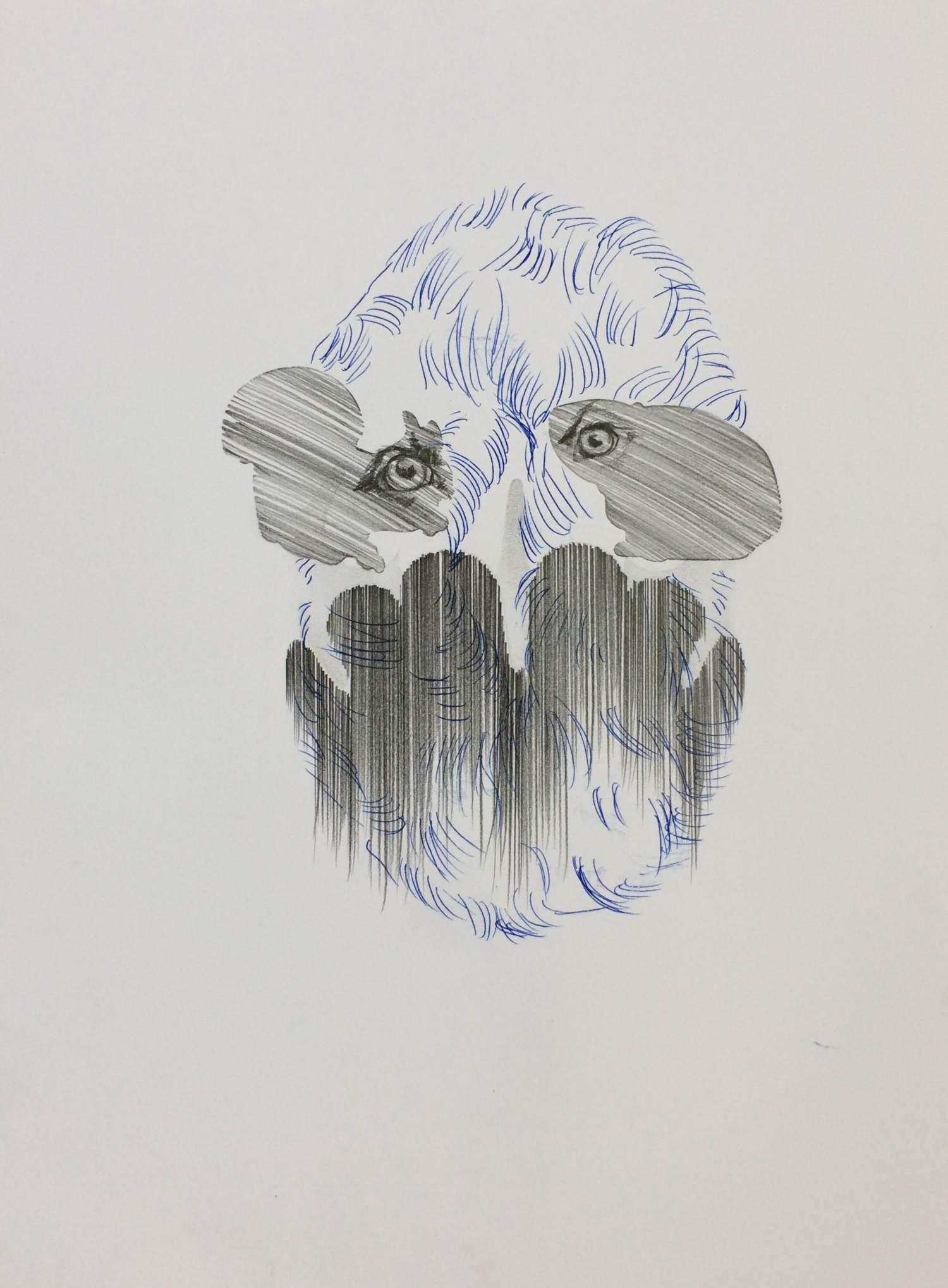 02#2019, Graphit und Intercopy auf Papier, 40 x 30 cm