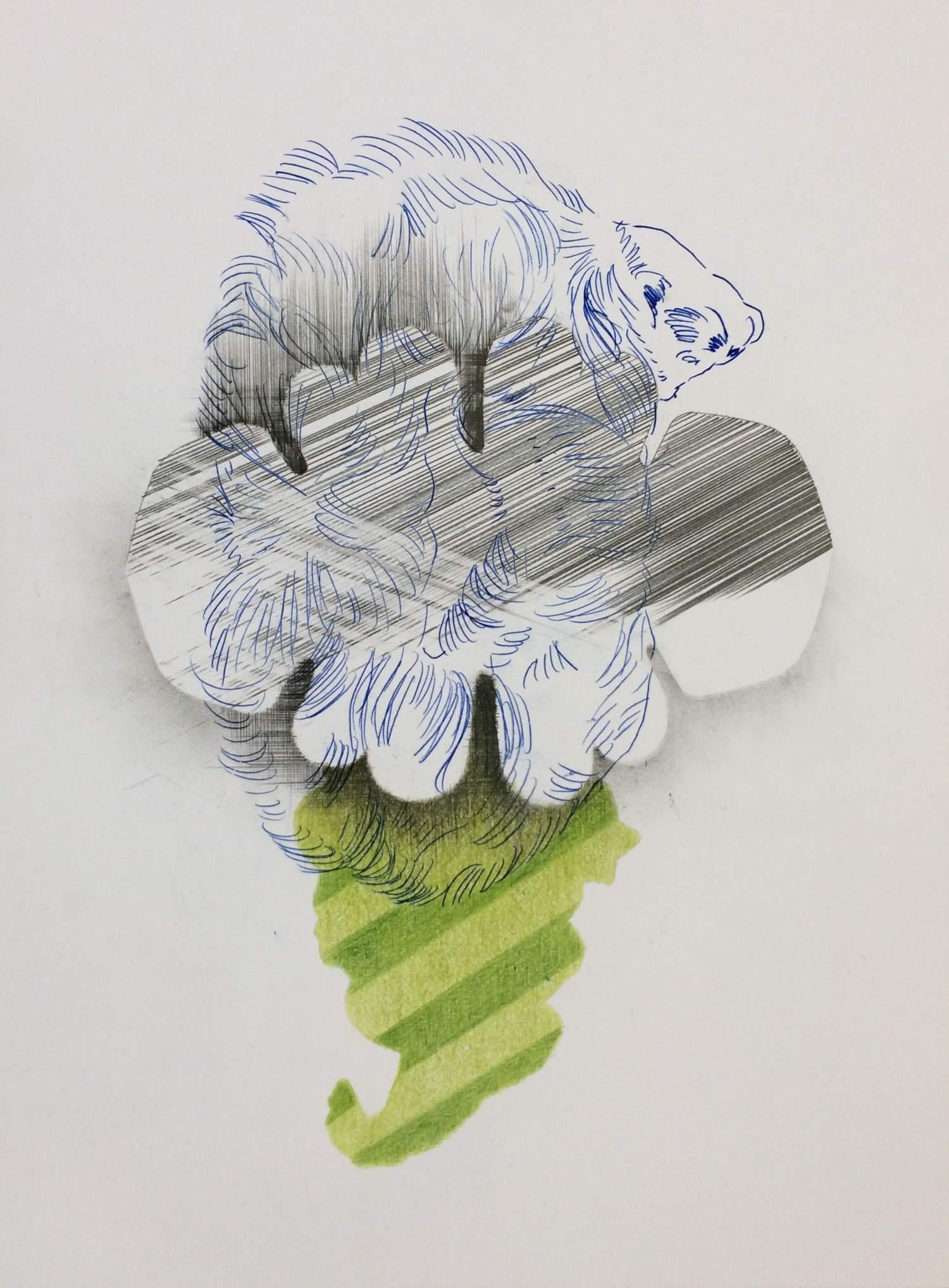 01#2019, Graphit, Farbstift und Intercopy auf Papier, 40 x 30 cm