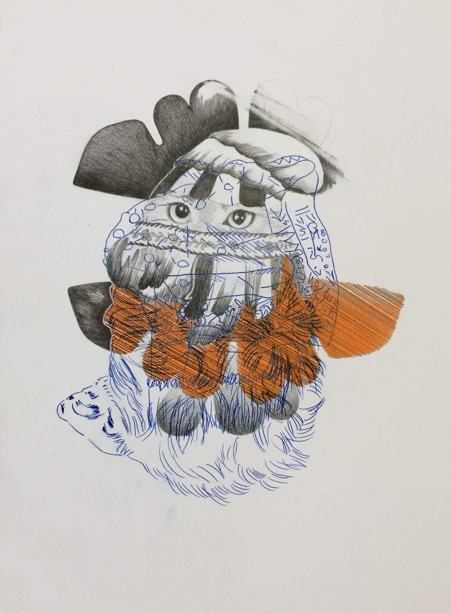 03#2019, Graphit, Farbstift und Intercopy auf Papier, 40 x 30 cm