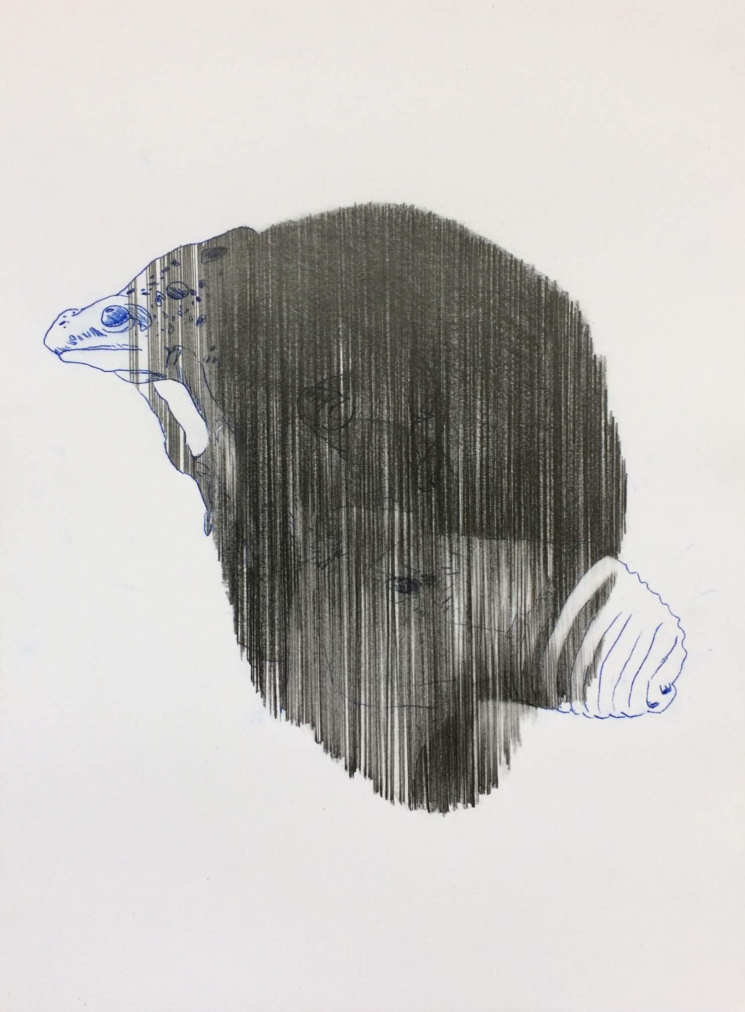 09#2019, Graphit, Farbstift und Intercopy auf Papier, 40 x 30 cm