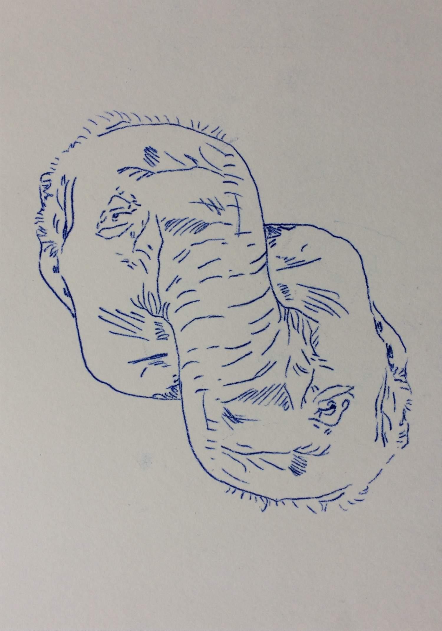 """01#2019 aus der Serie """"Plenticopy"""" Kohlepapier-Durchzeichnung auf Papier, 29,7 x 21 cm"""