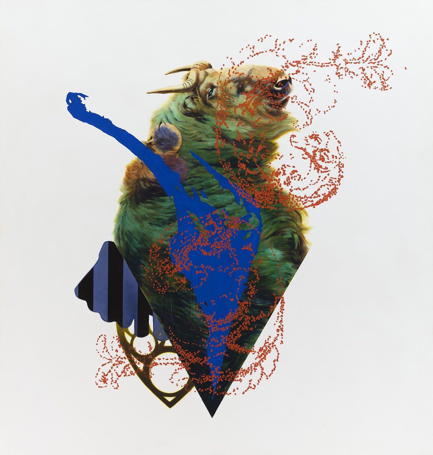 """""""Chrysokoller"""" 2020, 154 x 146 cm, Öl auf Nessel"""