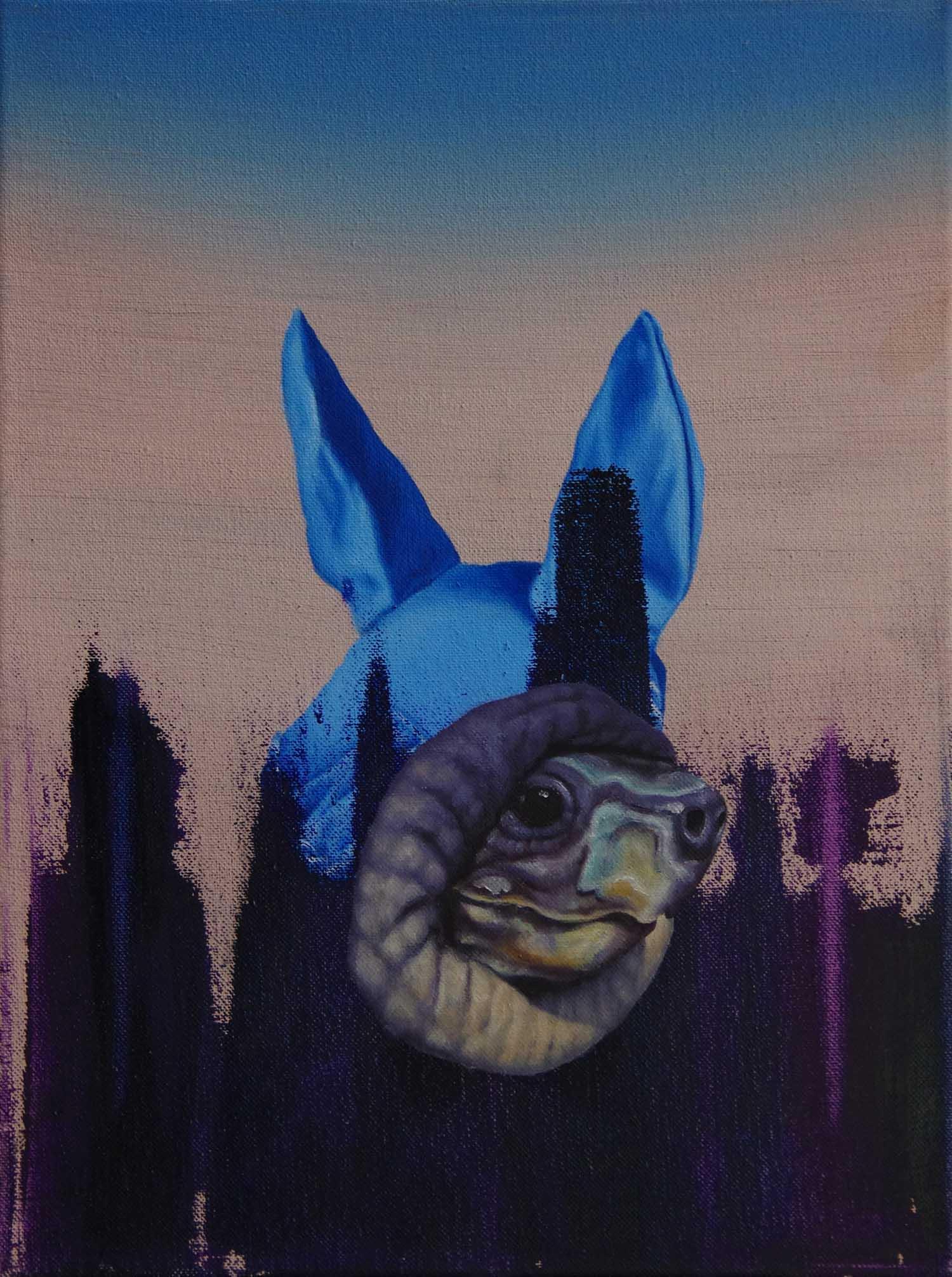 """al centro, al dentro"" 2011, 40 x 30 cm, Öl und Acryl auf Nessel"