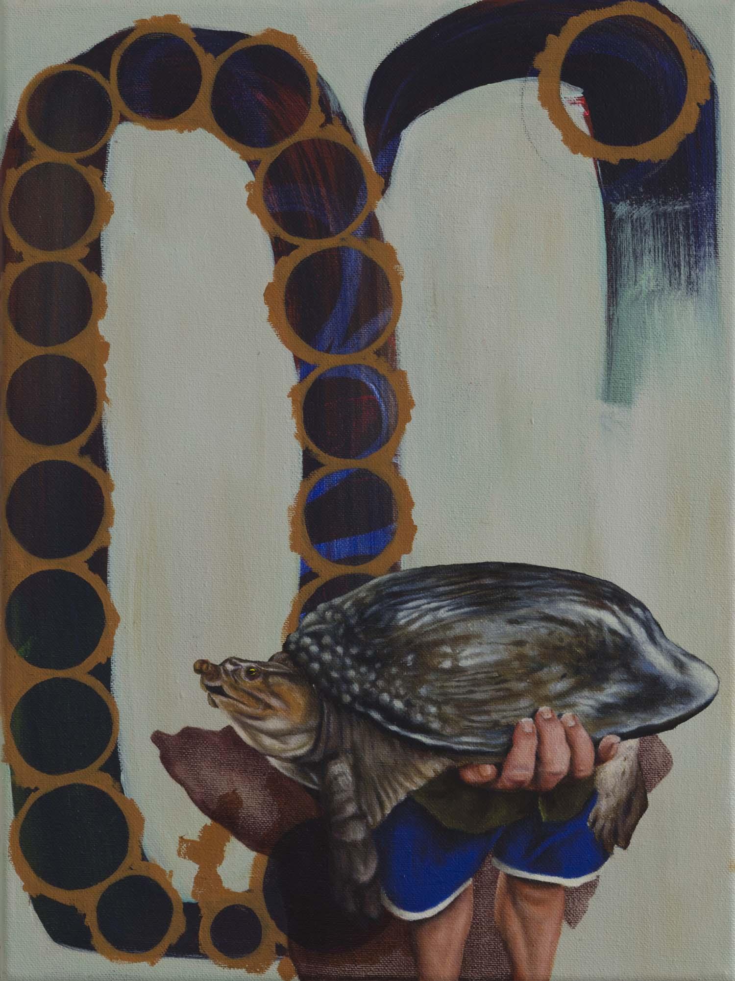 """""""oben ohne"""" 2011, 40 x 30 cm, Öl und Acryl auf Nessel"""